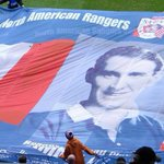 Sad to hear the news about Sammy Cox today, was lucky to carry this flag onto the pitch a few years ago #RIP http://t.co/T99QGWL816