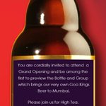 HighTea invite for a beer we associate with sea, shorts, Goa? Glad though that #Kings coming to #Mumbai http://t.co/wooBkZTH2T