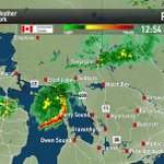 A bow echo heading straight for the Bruce Penninsula. Know campers or cottagers? Tell them to take shelter. #onstorm http://t.co/WVuFxuyytj