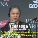 Olha o que a Ronda Rousey falou para a Bethe Correia depois de nocaute-la no #UFC190 ???? http://t.co/sHiRXpXRO3