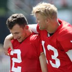 Johnny Manziel and Josh McCown at #browns training camp http://t.co/YrSaDKeDtv