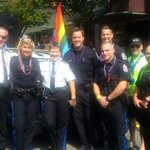 Transit Police are are in the parade right now @vancouverpride. Come down and meet us! #policingwithpride ^gw http://t.co/QOISvS4pOp