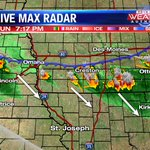 Severe warned storms currently stretching across S. Iowa, expect some activity to drift into N. MO #kq2 #weather http://t.co/ZFdHYxB27j