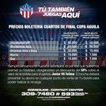 Compartimos precios de boletería cuartos de final de #CopaÁguila #VamosTiburón http://t.co/JKSElxJ820