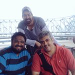 #Thala56 - #Thala #Ajith pic with the Majestic Howrah bridge as background http://t.co/ACFkhV60j2
