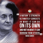 Smt.Indira Gandhi strongly believed in the self-reliance of India in every field. http://t.co/8im11G8Byy