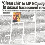 Clean chit to MPHC Judge. http://t.co/zBOVIo88pf #FakeWomenEmpowerment Womens r misusing law due 2no fear of punish #scrap498a @smritiirani
