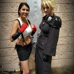 Oh, I never posted this, did I? Finally found Cloud while wearing my #ff7 Tifa :) @TampaComicCon #cosplay http://t.co/s0kTFTHSpZ