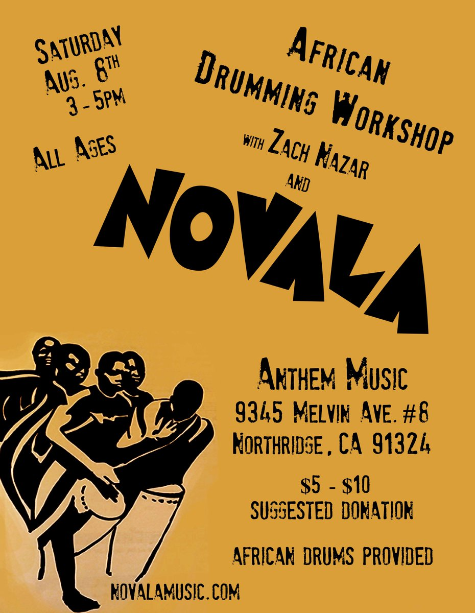 African Drumming Workshop by @Novalamusic on 8/8 from 3-5PM at Anthem Music in Northridge.  http://t.co/O0UcsRWViB http://t.co/Jb6UnLIzK5