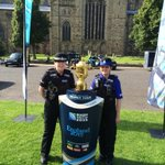 Durham City officers with the Rugby Webb Ellis cup on Palace Green today http://t.co/qFFUomqgP4