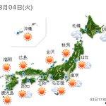 【全国の天気】(3日21:00) http://t.co/x7YRCRPFtj 5日も九州から東北まで日中は広く晴れるでしょう。ただ、気温の上がる午後は大気の状態が不安定です。山沿.. http://t.co/QYrFPvybAl