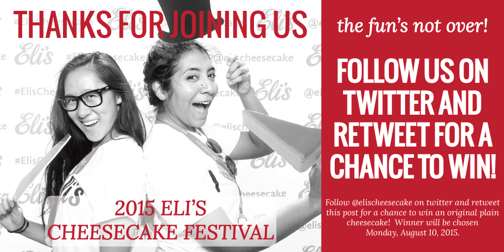 Thanks for joining us at #cheesecakefestival! We're not ready for the fun to end, so #retweet for a chance to #win! http://t.co/N0KrPA0cbF