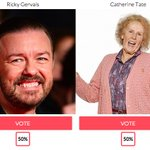 THIS IS IT! The final. @rickygervais vs Catherine Tate! WHOS YOUR #COMEDYCHAMPION? VOOOTE!!! http://t.co/8I1YrxvMOo http://t.co/vbKSplfWXv