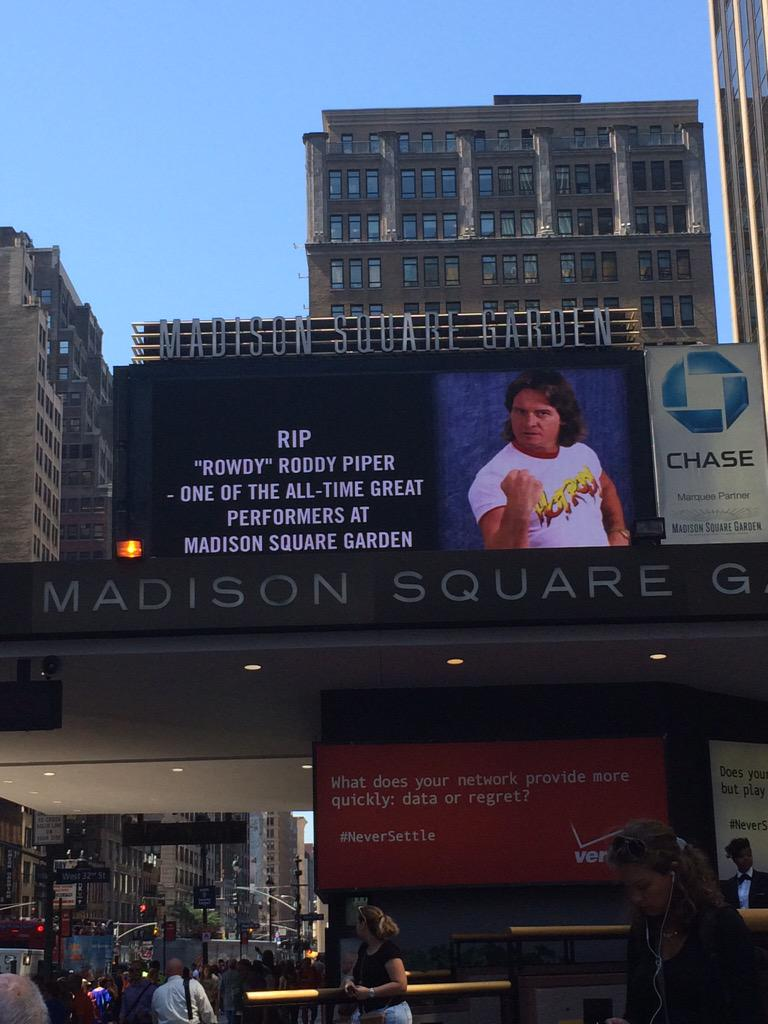 """Rowdy"" Roddy Piper - one of the all-time great performers @TheGarden and friend to us all. You will be missed. http://t.co/tDI37tGsDf"