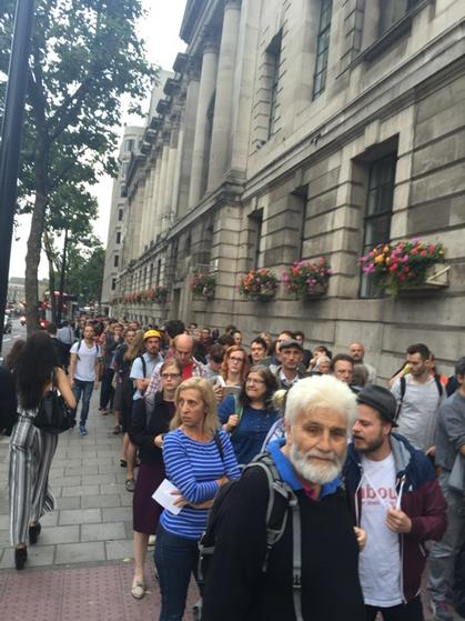This is the queue for Jeremy Corbyn's rally tonight in central London. Four deep, round the block http://t.co/TXAVcBrFlH