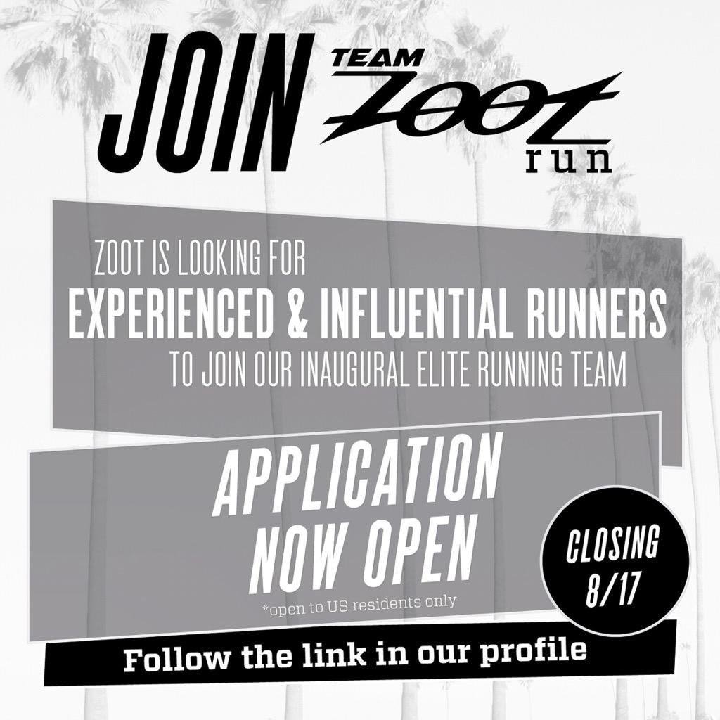 Team Zoot Run application is now open until Aug 17! Find the link in our profile page to apply http://t.co/I9OOt9RcH8 http://t.co/ks0Czz2CCg
