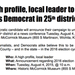 Wichita area Democrats: Please join us tomorrow for an exciting announcement! #ksleg http://t.co/4HvFjiyT7b