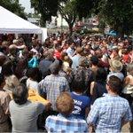 """@AdamScotti: The room was too full, so we moved outside w @JustinTrudeau #elxn42 #cdnpoli http://t.co/BoXPu0LUF4"""
