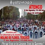 RT AyotzinapaFeed: RT ernesto2000e: RT Coordinadora1DM: #CaravanaNacional43 #Ayotzinapa  6 agosto Atenco 11hrs 7 a… http://t.co/49IPB2bhX4