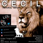 Join us for the Memorial Service of Cecil the Lion https://t.co/0a9CgOJZJM #CecilTheLion #Kumariro #Twimbos http://t.co/ug5fSvKY5G