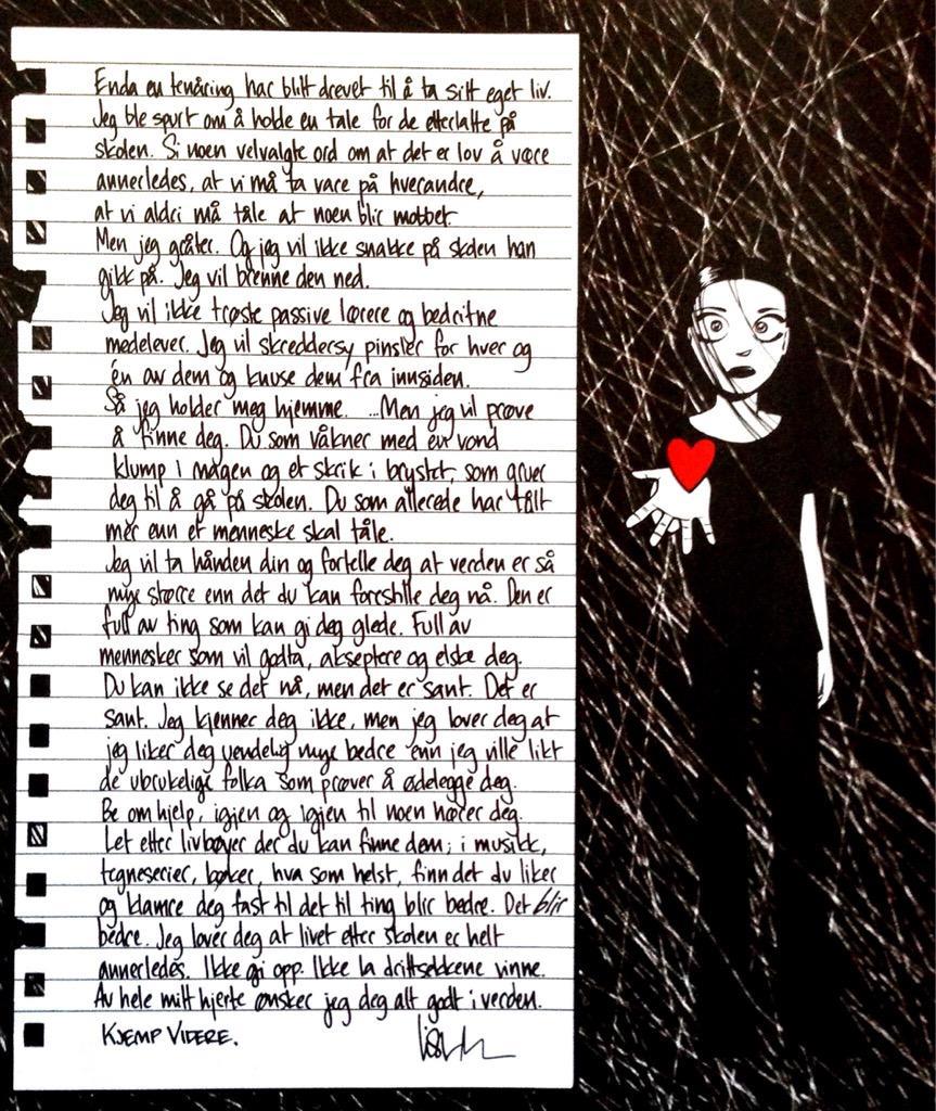 Dagens må lese, er en sterk tekst om mobbing fra Nemi. Les den. Del den. Mange barn og unge som trenger å lese den http://t.co/z2c1byprDU