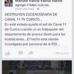 #Curicó Ex trabajador del Depto de Prensa, destruye set de @canal11curico los mismos del canal apuntan a Marcos Peña http://t.co/7Dg03dDLIF