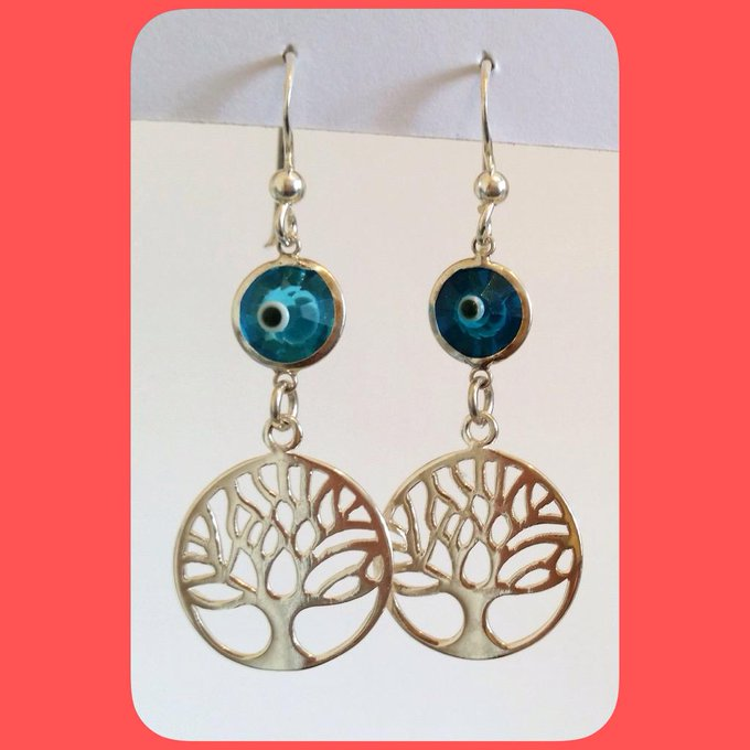 Sterling silver Tree of Life with devil eye drop earrings Price:£23.99 = 120,000 Toman http://t.co/93fxLhenza