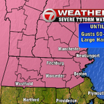 Severe thunderstorm watch until 8pm. Excludes SE Mass. #7news http://t.co/2McD4ROlUH