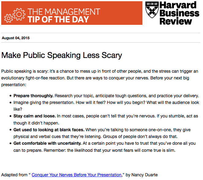 Today's management tip: Conquer your nerves before a presentation http://t.co/OZzCyPANfX