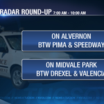 #RADARROUNDUP- #Tucson radar vans will be snapping photos at these spots from 7-10am. Drive safely! http://t.co/RmVkFpv8yp