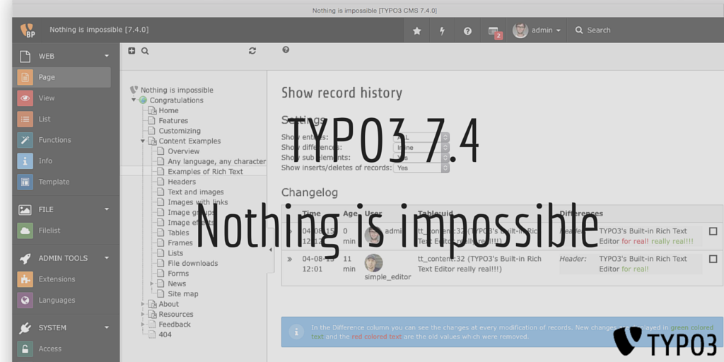Announcing TYPO3 CMS 7.4 - Nothing is impossible. #TYPO3 http://t.co/eh39y1hkSj ~ Naike http://t.co/Z2Ue1oXe1l