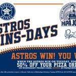 @oTejedaa_FA WHEN they win tonight, celebrate w/ pizza! Use code #ASTROS for 50% OFF: http://t.co/V4s1ykVaEJ http://t.co/YOh5Xg8xMU
