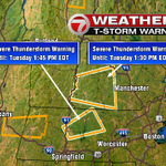 Couple severe thunderstorm warnings to pass along. One in SW NH and one extends into NW Worcester County. #7news http://t.co/JQnYNhunCi