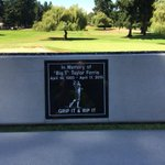 The bench named after ex-Allenmore golf pro Taylor Ferris. Right at fifth tee. http://t.co/1soKYpbe8u