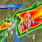 Monitoring this cell which is severe warned until 1:45pm- downpours, lightning, wind gusts to 60mph and hail #wcvb http://t.co/RjQrQ8dNgn