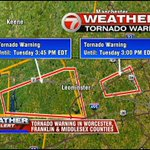 NOW: There are two tornado warnings in effect. One for Worcester and Franklin, second for Middlesex counties #7News http://t.co/6N8bhhomR9