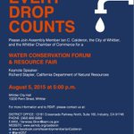 Join us tomorrow in #Whittier for #EveryDropCounts. Please spread the word! #SaveOurWater #AD57 http://t.co/2vj54jRnZ8