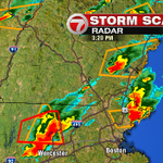 Tornado Warning in red box, Severe T-storm warning in orange boxes. Tracking multiple severe storms on #7News http://t.co/V7dFOBeu5x