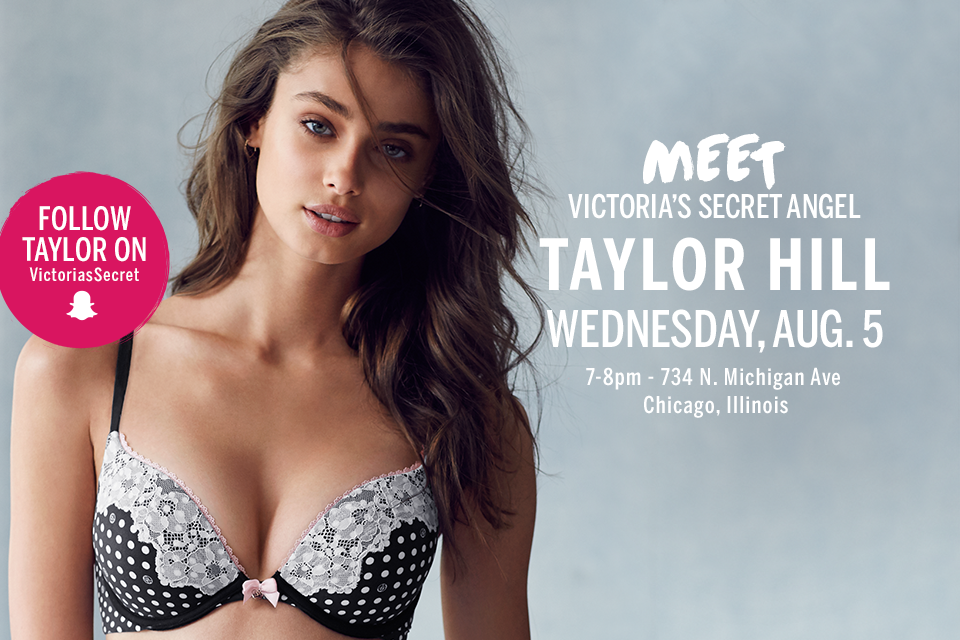 TOMORROW: @TaylorMarieHill is taking over our Snapchat in Chicago! Follow: victoriassecret ???? http://t.co/thOiusQrXx http://t.co/MUHkwGDzrX