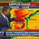 Storm cell with severe thunderstorm warning now approaching Sudbury. WATCH LIVE: http://t.co/JKrsO57BVj #fox25storms http://t.co/zEjxHFuqkT