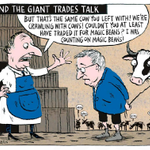 When are we getting the magic beans? Todays TPP & dairy cartoon by @domesticanimal in The Press: http://t.co/eTlANoKyBD
