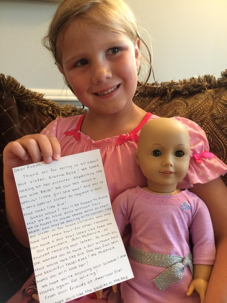 A special thank you to @American_Girl for sending the Gianna Rose cancer doll to my daughter! She is on cloud 9 http://t.co/BJPSDuO1zR