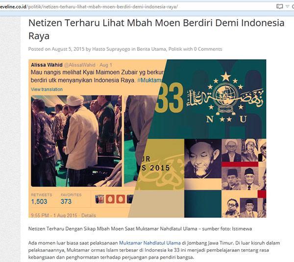 Netizen Terharu Lihat Mbah Moen Berdiri Demi Indonesia Raya http://t.co/XPu2TLD8qC @EvelineNews @AlissaWahid http://t.co/RhTiRQKUrc