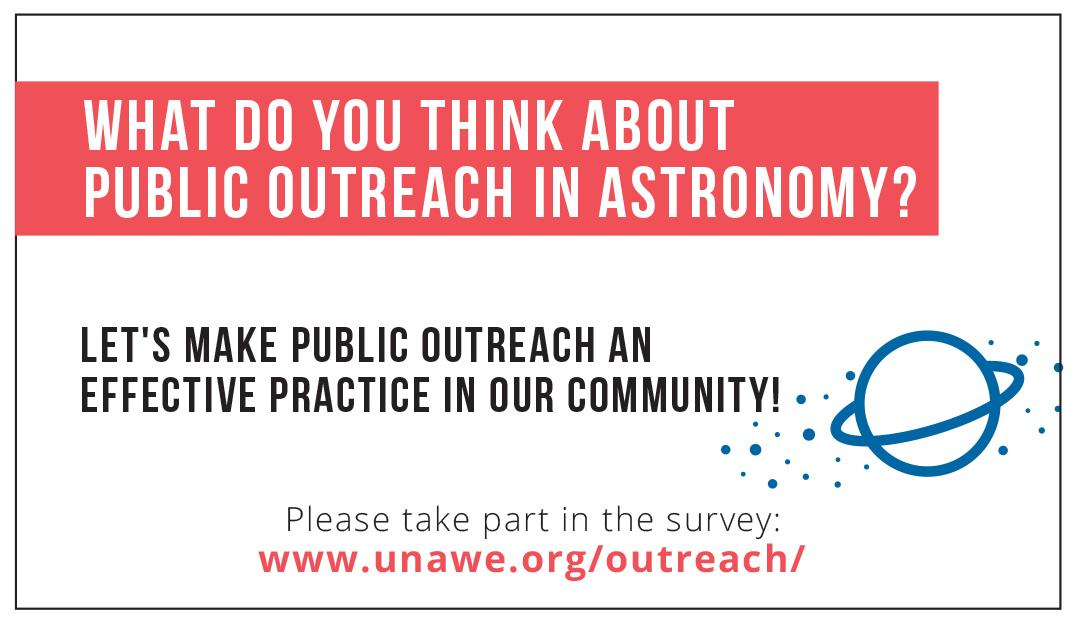 #iau2015 astronomers: What do you think about public outreach?  Pls participate in the survey: http://t.co/PAjVuBKqeb http://t.co/nc9l2rQfYE