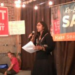 Socialist council member Kshama Sawant @VoteSawant celebrates taking 49.9% in primary. Will face Pamela Banks 35.3% http://t.co/INY830rEEG