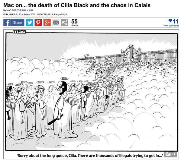 Daily Mail cartoon shows dead migrants trying to get into heaven 'illegally'. Are we truly this heartless now? http://t.co/vS8jHVWdPU