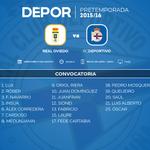 Convocatoria del @RCDeportivo para el partido de esta tarde contra el Oviedo (20.30h, TVG2) http://t.co/emeGHe8ezi