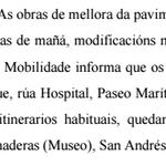 #Aviso #Coruña Cambios nas liñas 4, 5, 6, 6A, 7 e 11 do bus urbano por obras nas rúas Orzán e Sol a partir de mañá. http://t.co/qiySDZXjR2