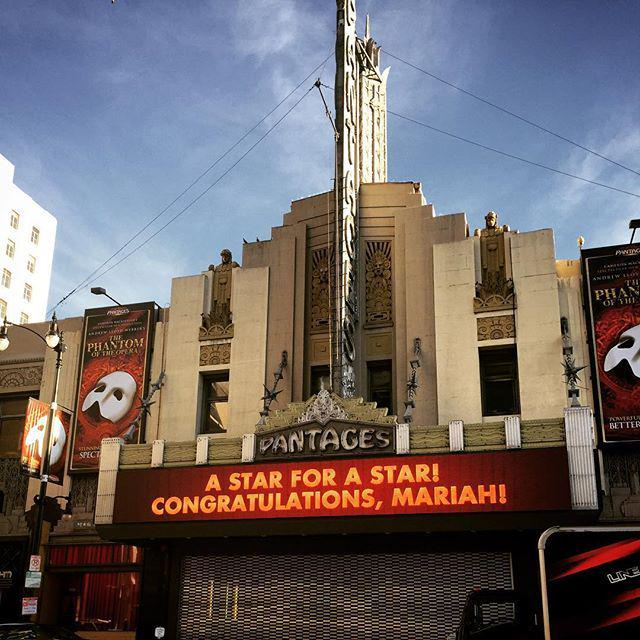The famous Pantages Theater congratulating Mariah for her #hollywoodwalkoffame star #AStar… http://t.co/wWE7aTY19A http://t.co/DeKCfkU7sN