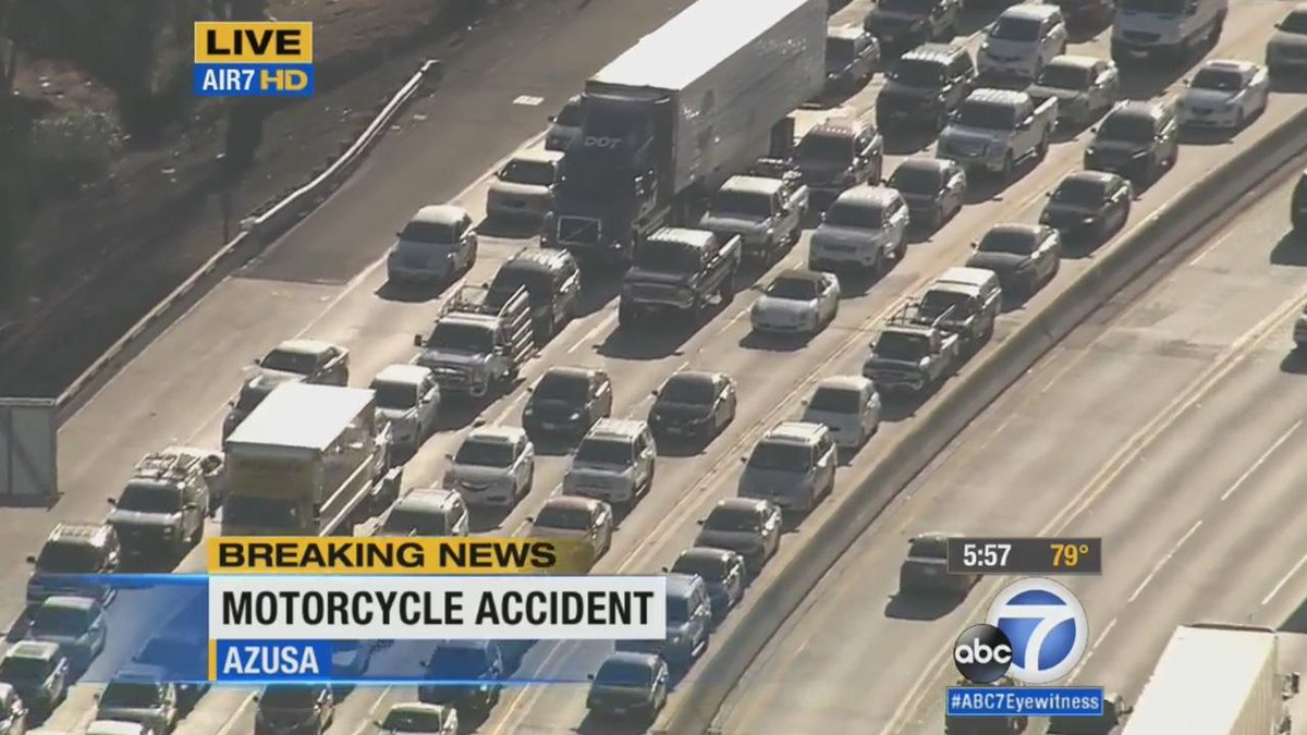 Azusa Update Traffic Backed Up On Eastbound 210 Fwy At Citrus Ave After Motorcycle Ax